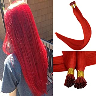 Full Shine Solid Color I Tip Hair Extensions 20 Inch Red Color 0.8g Per Strand 40g Per Package Fusion Hair Extensions Reheating Beads Straight Hair Remy Human Hair Extensions