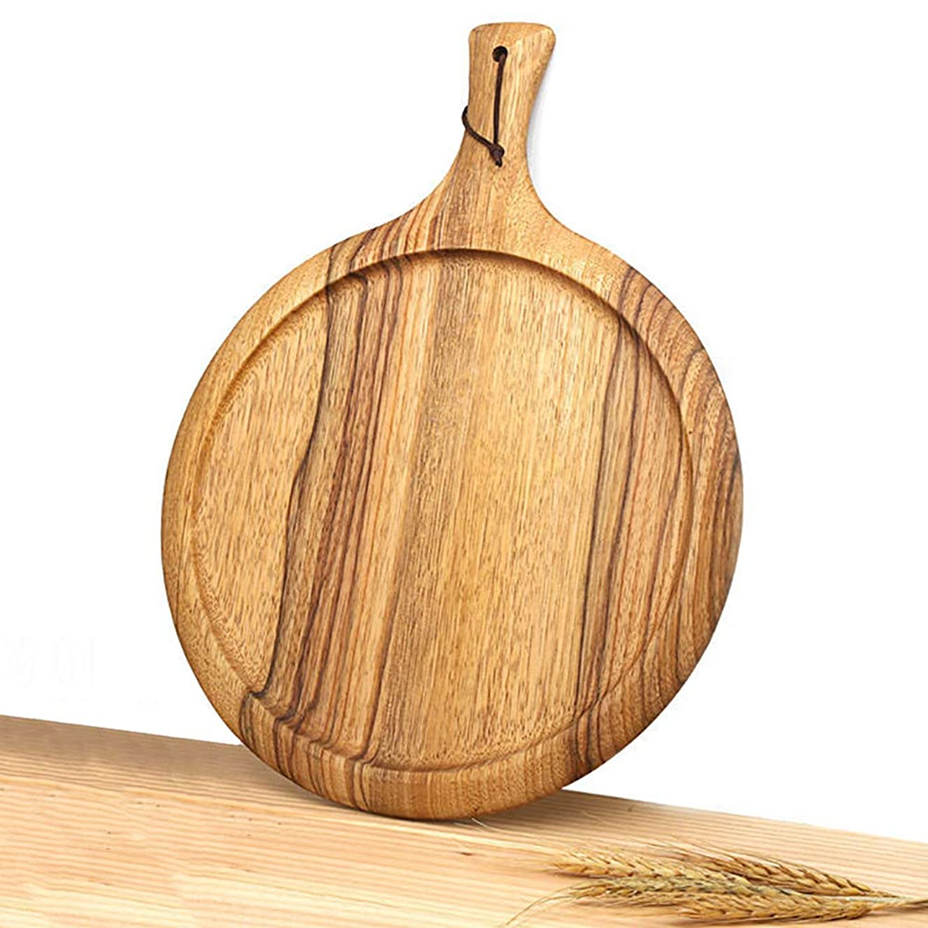 CABNT Round Chopping Board Zebra Wood, Nordic Serving Tray Cutting Board with Handle Pizza Fruit Bread Board for Vegetables-a