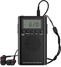 Pocket Radio, Small Portable Digital AM FM Battery Operated Radio with Earphone