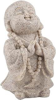 White Sandstone Small Praying Laughing Buddha Figure Statue Attractive Buddha Statue Sculpture Resin Art Craft Decor(#01)