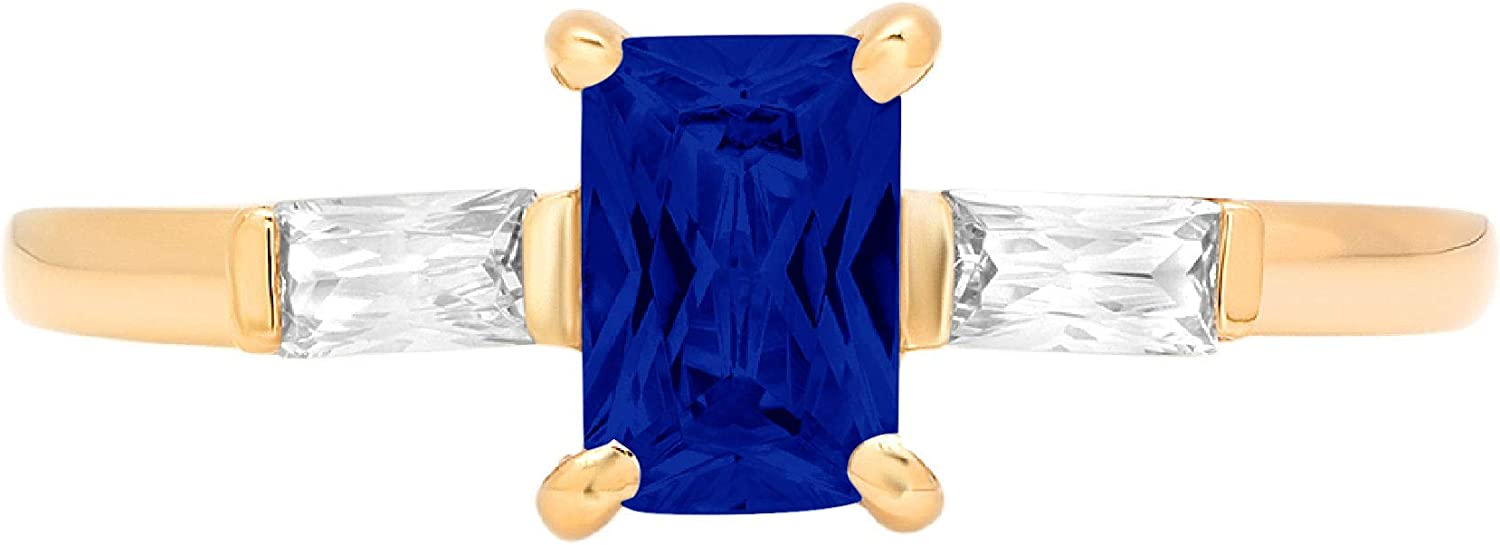 0.99ct Emerald Baguette cut 3 stone Solitaire with Accent Flawless Ideal Genuine Cubic Zirconia Blue Sapphire Engagement Promise Statement Anniversary Bridal Wedding Designer Ring 14k Yellow Gold