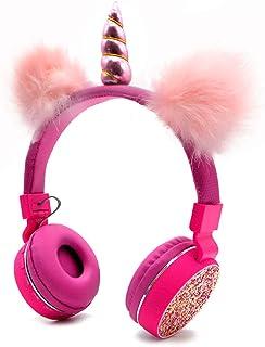 Bluetooth 5.0 Einhörner Kopfhörer mit flauschigen Katzenohren für Kinder, Kinder Stirnband, faltbar, wiederaufladbar, unterstützt TF Karte, FM, AUX Eingang (rot)