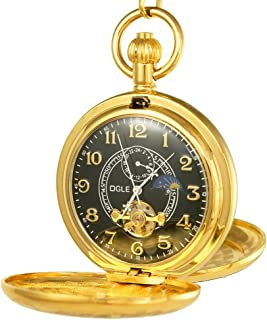 Ogle Vintage Copper Double Cover Tourbillon Phases Moon Chain Fob Self Winding Automatic Mechanical Pocket Watch/Gold Dial