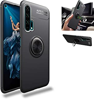 Honor 20 Pro Case,360° Rotating Ring Kickstand Protective Case,Silicone Soft TPU Shockproof Protection Thin Cover Compatible with [Magnetic Car Mount] for Huawei Honor 20 Pro Case Black/black 1