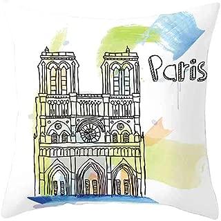 TIFENNY Retro Cushion Cover Up London Paris City Street Scenery Pillowcase Home Decor