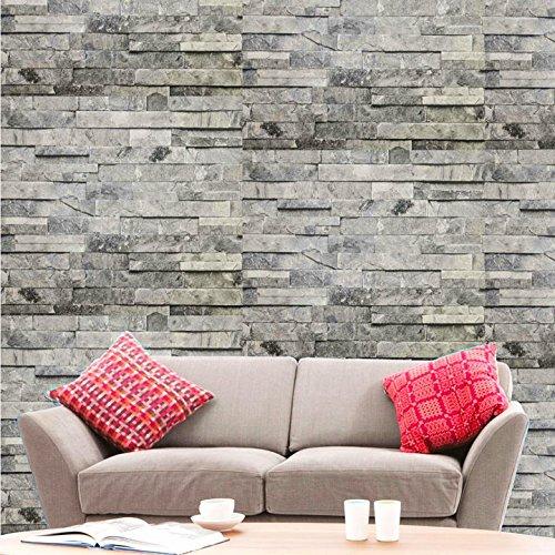 Hyfive-Wallpaper 3D Effekt - gerade - grauen Stein Farbe - 10 x 0,53 m
