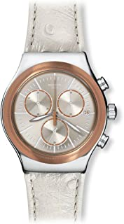 Swatch Women's Quartz Watch, Analog Display and Leather Strap YVS412