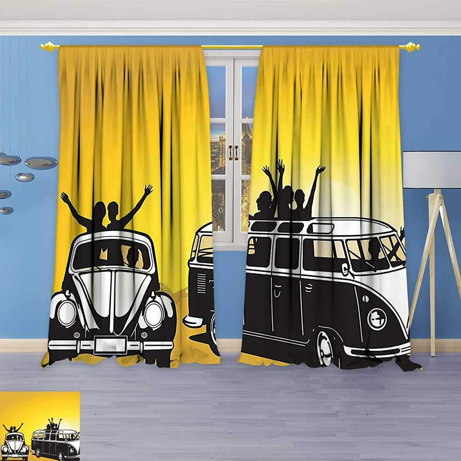 Kids Room Planets Curtains (2 Panels),Collection Traveling in The Sixties Hippy Car Transport Vehicle Hitchhiking Daring Camping Freedom Thermal Insulated Blackout Curtains with Star Prints