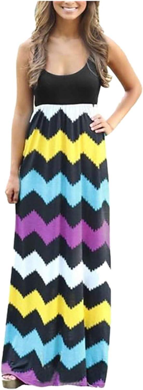 siilsaa Summer Dresses for Women, Womens Stripe Print Sleeveless Bohemian Dress Long Maxi Dress Casual Party Sundress