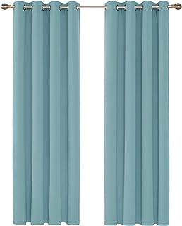 Deconovo Lot de 2 Rideaux Occultants Solides Lourds à Oeillets 140cm x 175cm Isolant Thermique pour Filles Bleu Ciel