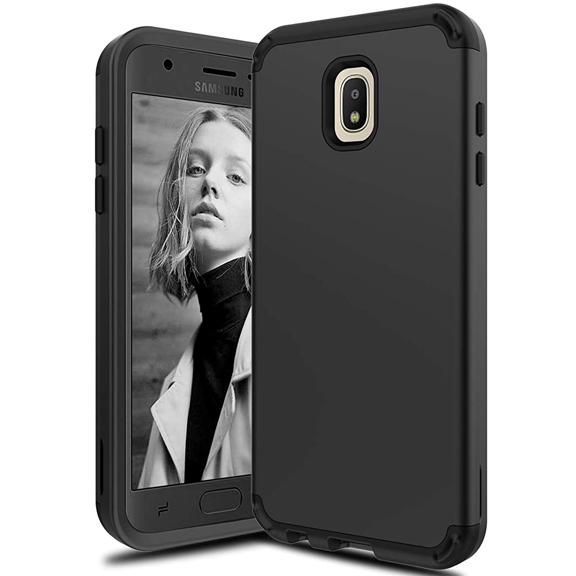 LEAPTECH Hybrid Galaxy J7 2018 Case, Galaxy J7 Refine Case, Galaxy J7 Star Case, 3 in 1 Heavy Duty Shockproof Protective Armor Phone Case Cover Compatible with Galaxy J7 Aero/J7 Aura (Black)