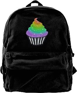 Baisui Cute Rainbow Cupcake Men Women Boy Girls Backpack Bag Cotton Running Adjustable Strap Hip Bum