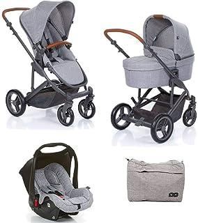6ccec1012 Kit Carrinho Moisés COMO 4 com Bebê Conforto + Bolsa Wover Gray (Det. Couro