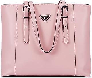 BOSTANTEN Damen Leder Handtaschen Groß Shopper 15 Zoll Laptoptasche Schultertasche Aktentasche für Büro Rosa