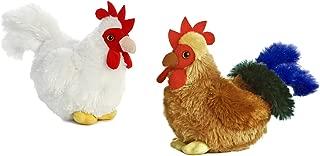 Aurora Mini Flopsie Bundles Bundle of 2 6 Floppy Beanbag Chicken & Rooster Stuffed Animals - New Chicken & Cocky Rooster, Multicolor