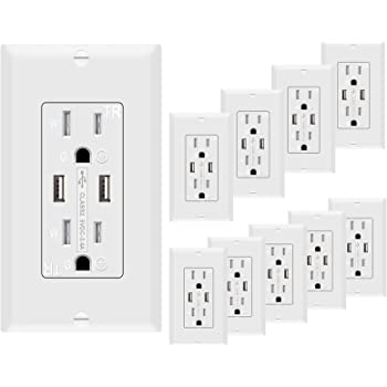 USB Outlet 3.1A USB High Speed Wall Charger 15A TR Receptacle Wall Plate10pack