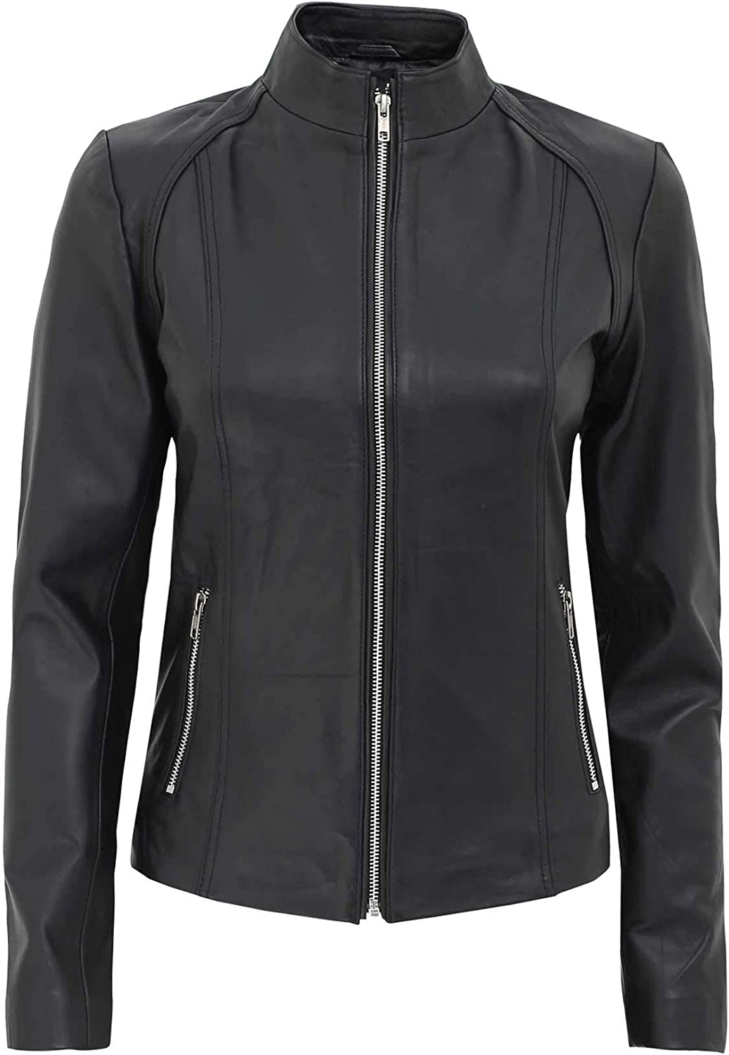 Fjackets Black Leather Jacket for Women - Quilted Brown Lambskin Slim Fit Woman Leather Jacket