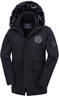 Men's Parka Puffer Jacket Warm Winter Coat with Removable Hood
