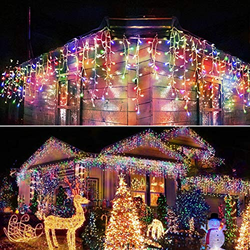 Homeleo 400 LED Icicle Christmas Lights, Multicolored 75 Drops Icicle Curtain Lights, Remote Icicle String Lights for Indoor Outdoor Xmas House Eaves Balcony Wall Stairs Window Bedroom Decorations