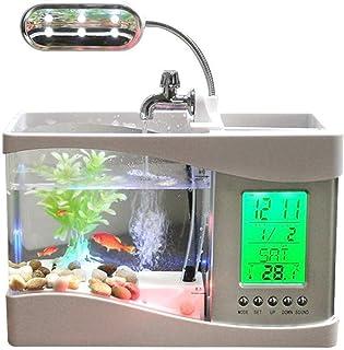 Rubik USB Desktop Mini Fish/small fry Lamp Fish Tank Aquarium with Running Water LCD Time Clock LED Lamp Light Calendar Ho...