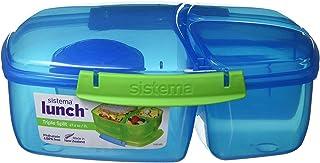 comprar comparacion Sistema - Caja de Almuerzo Triple, con Recipiente para Yogur, 2 L, plástico, Azul/Verde, 24.5 x 20 x 9.1999999999999993 cm