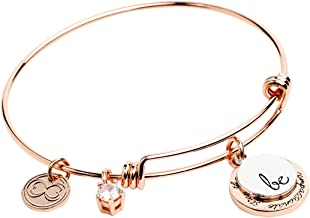 """Baubelle Expandable Inspirational Stackable Charm Bracelet """"Be Thankful, Brave, Happy, True, Compassionate, Strong"""