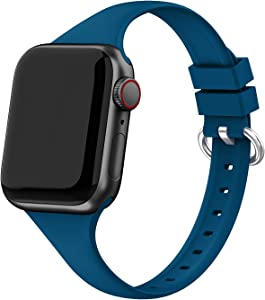 EDIMENS Silicone Band Compatible with Apple Watch 38mm 40mm, Soft Slim Thin Small Sport Accessory Strap Replacement Wristband for iWatch Series 6 5 4 3 2 1 SE Sport Edition Women Men, Pacific Green