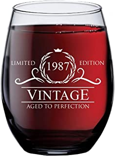 1987 32nd Birthday Gifts for Women Men | 15 oz Stemless Wine Glass | 32 Year Old Gift Present Ideas for Mom Dad | Funny Vintage Unique Personalized | Party Anniversary Reunion Decorations Supplies