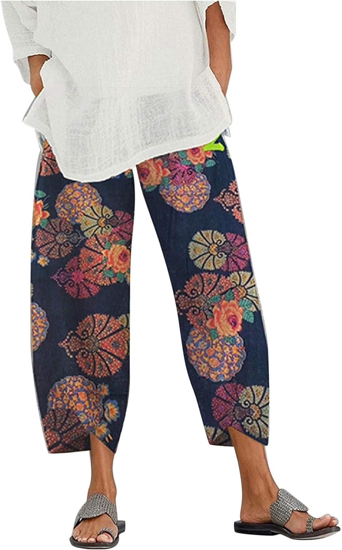 BEUU Women Palazzo Lounge Pants Wide Leg Printed Cropped Pajama Bottoms Baggy Trousers Yoga Sweatpants with Pockets