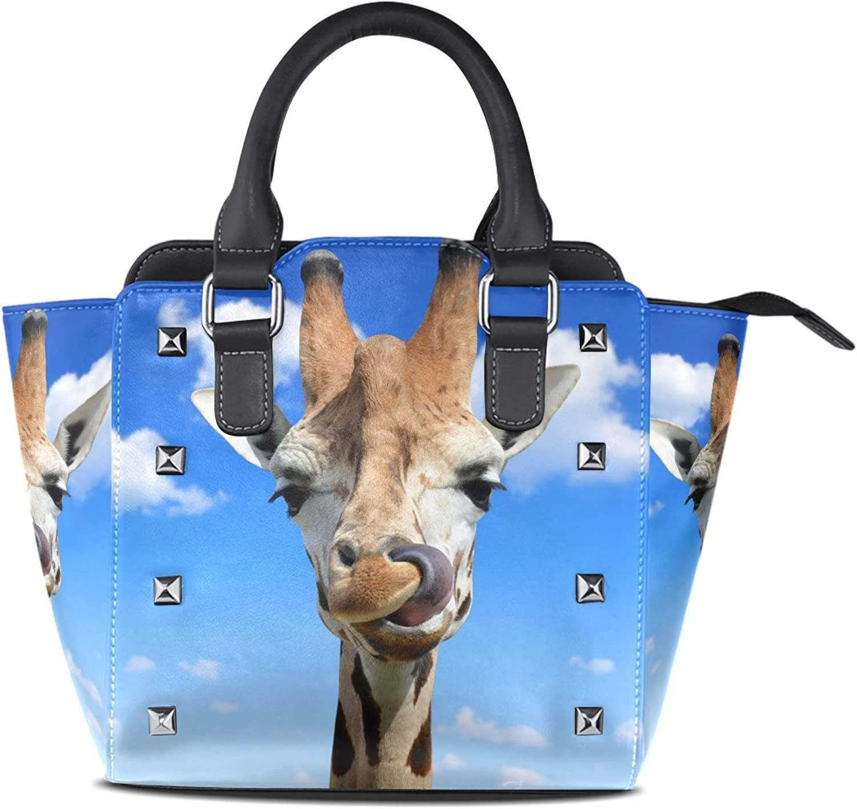 My Little Nest Women's Top Handle Satchel Handbag Funny Giraffe Ladies PU Leather Shoulder Bag Crossbody Bag