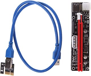 HEASEN New 4pin 6pin SATA Power PCI Express 16X Slot Riser Card USB 3.0 PCI-E 1x to 16x PCIE Riser for Bitcoin BTC Miner Mining