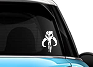 Star Wars Mandalorian Skull Boba Fett White SCI-FI/Comics/Games Automotive Decal/Bumper Sticker