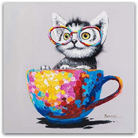 Dayanzai Cute Animal Canvas Print Picture Glasses Cat Oil Painting Pop Art Posters On The Wall Living Room Decor Modern Poster And Print 50x50cm No Frame Posters Prints