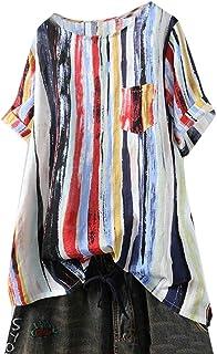 FSSE Womens Short-Sleeve Pockets T-Shirt Plus Size Coloured Stripe Blouse Top T-Shirt