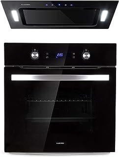 Klarstein Gusteau Hektor lote de cocina - Horno + extractor de humos - horno de 64 litros, Clase A, 50-250 °C, 2 zonas de calor, Ventilación, 3 niveles, Negro- Acero