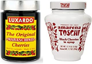 Italian Cocktail Cherry Combo Pack - 1 Jar of Luxardo Maraschino Cherries 400g and 1 Jar of Toschi Amarena Cherries 510g | For Cocktails, Ice Cream, and Desserts