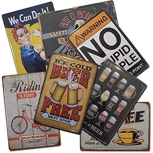 Chapas Vintage Boemy |. Pack de 7 Chapas Surtidas | Placas Metálicas Retro para decoración de pared | Tamaño 20x30