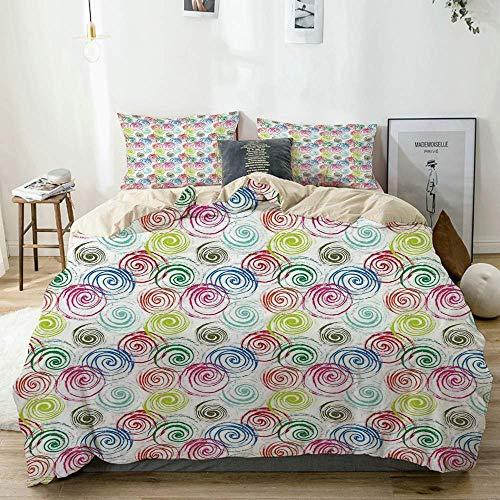 Juego de funda nórdica beige, contemporáneo, color arcoíris, con efecto de trazo de pincel, espirales en forma superpuesta descuidada, juego de cama decorativo de 3 piezas con 2 fundas de almohada, fá