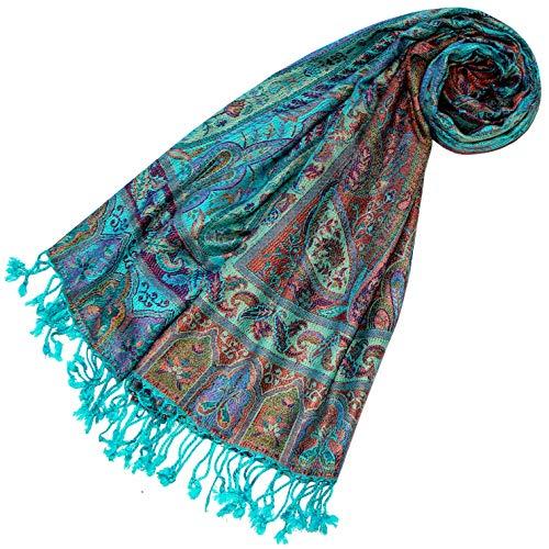 LORENZO CANA Pashmina Schal Schaltuch Stola Naturfaser opulentes Paisley Muster in harmonischen Farben mit Fransen Damenschal Frauenschal 70 x 200 cm 78599