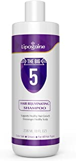 Lipogaine Big 5 Hair Stimulating Shampoo for Hair Thinning & Breakage, for All Hair Types, Men and Women, Infused With Biotin, Caffeine, Argan Oil, Castor oil and Saw Palmetto (Purple)