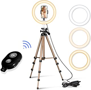 """Singh Accessories 10"""" Selfie Ring Light with 40"""" Extendable Tripod Stand & Flexible Phone Holder for Live Stream/Makeup, Desktop Led Camera Ringlight for YouTube & TIK-Tok Video"""