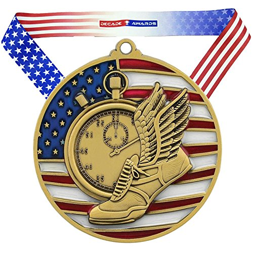 Decade Awards Track & Field Patriotic Medal, Gold - 2.75 Inch Wide First Place Medallion with Stars and Stripes American Flag V Neck Ribbon