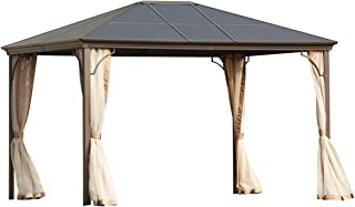 SOLAURA Outdoor Patio Furniture 12' x 10' Hard PC Top Gazebo Garden Pavilion Metal Frame Light Brown Tent Cover with Mosquito Nets & Privacy Curtains