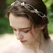Missgrace Women Prom Flower and Beads Crystal Blue Rhinestone with Pearl Flowers Wedding Headpiece Rhinestone Hair Vine Bridal Headpiece Wedding Hair Accessories Bridal Hair Accessories