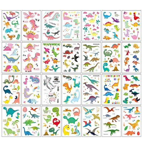 JOYKK 15 Pezzi Adesivo per Tatuaggio per Bambini a Cartone Animato Impermeabile personalità per Bambini Dinosauro Modello Animale Adesivi USA e Getta Giocattolo per Feste