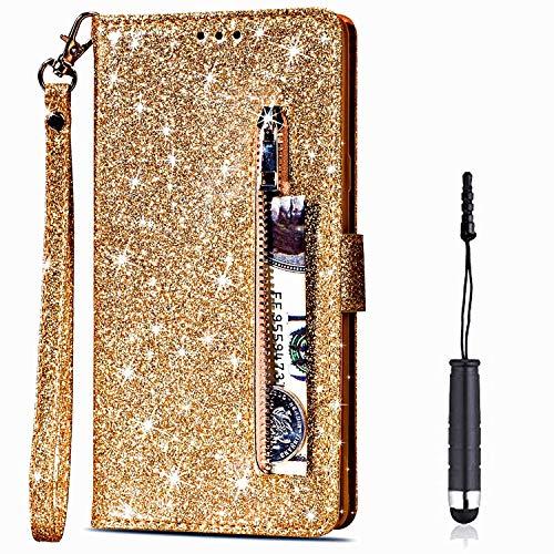 Vepbk für Samsung Galaxy A10 / M10 Hülle, Handyhülle Schutzhülle Leder Handytasche Case Glitzer Hülle mit Kartenfach Geldbörse Magnet Flip Brieftasche Lederhülle für Samsung Galaxy A10/M10-Gold