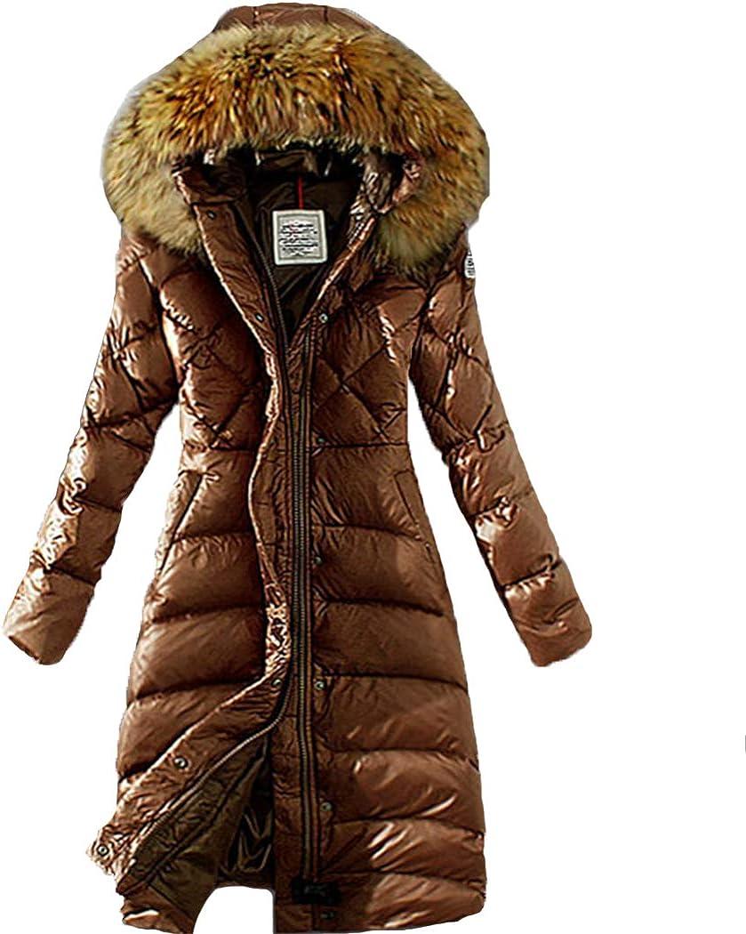 Azastar Women's Down Coat Thicken Cotton Faux Fur Hooded Jackets Winter Warm Outerwear