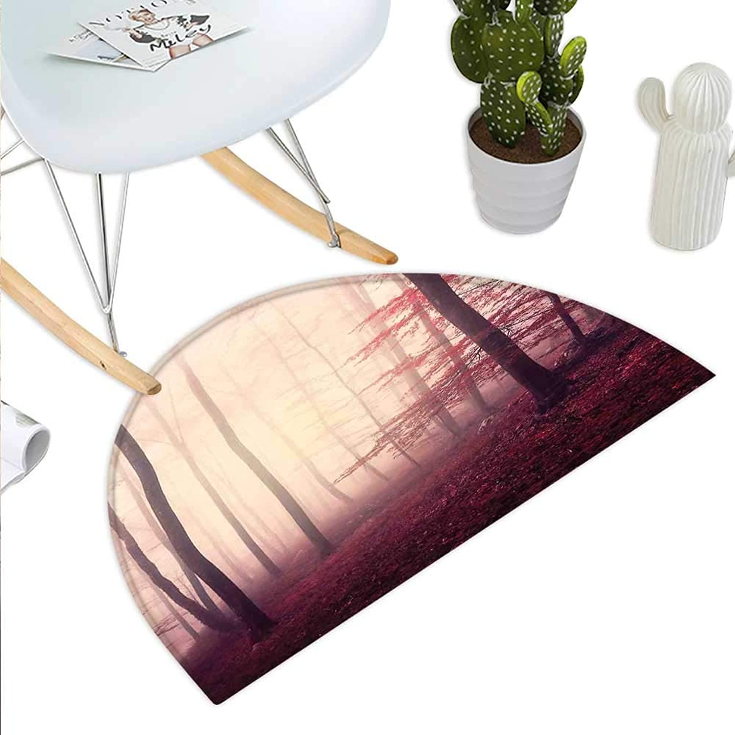 Woodland Decor Semicircle Doormat Fantasy Marsala color Foggy Forest Jungle Dreamy Wilderness Woods Sunlight Halfmoon doormats H 43.3  xD 64.9