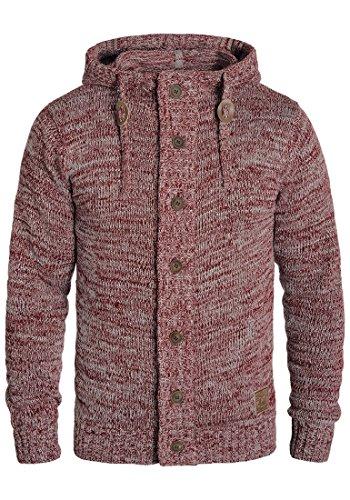 !Solid Pierrot Herren Strickjacke Cardigan Grobstrick Winter Pullover mit Kapuze und Knopfleiste, Größe:XL, Farbe:Wine Red Melange (8985)