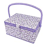 SAXTX Large Sewing Basket with 99Pcs Sewing Kit Accessories| Wooden Sewing Box Organizer with Multiple Compartments| Women Sewing Gifts for Quilting and Mending,12 x 9 x 6.5 inches